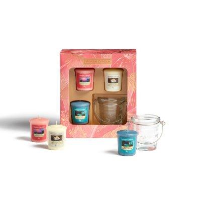 Confezione regalo con 3 candele sampler e 1 porta candela sampler