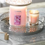 jar candle with shade and lit tea candle inside holder on top of tray image number 1