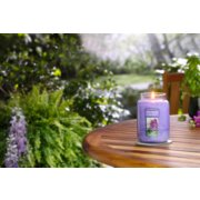 lilac blossoms large jar candle on table image number 3