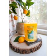 sicilian lemon yellow candles large 2 wick tumbler candle on table with lemon image number 1
