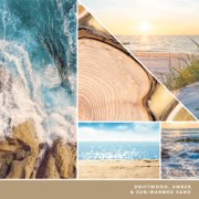 driftwood, amber and sun warmed sand text on photo collage with seaside landscapes image number 2