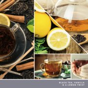 black tea, vanilla and a lemon twist text on photo collage with hands holding mug image number 3