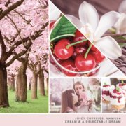 juicy cherries, vanilla cream and a delectable dream text on photo collage with cherry blossom trees, two girls, and parfaits image number 2