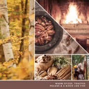 warm spices, toasted pecans and a birch log fire text on photo collage with trees and family image number 2