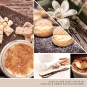 vanilla custard, toasted praline and sweet sophistication text on photo collage with desserts image number 2