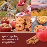spiced apples, warm woods and crisp fall air text on photo collage with apples, cinnamon and fall landscapes image number 0