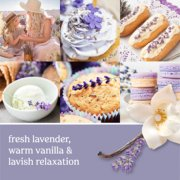 fresh lavender, warm vanilla and lavish relaxation text on photo collage with lavender and vanilla desserts image number 1