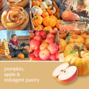 pumpkin, apple and indulgent pastry text on photo collage with apples, pumpkins, and desserts image number 1