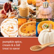 pumpkin spice, cream and a fall treat to savor text on photo collage with pumpkins, pie and latte image number 0