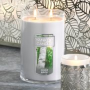 frosted leaves multi screen tea light candle holders with silver birch scent large 2 wick tumbler candle image number 1