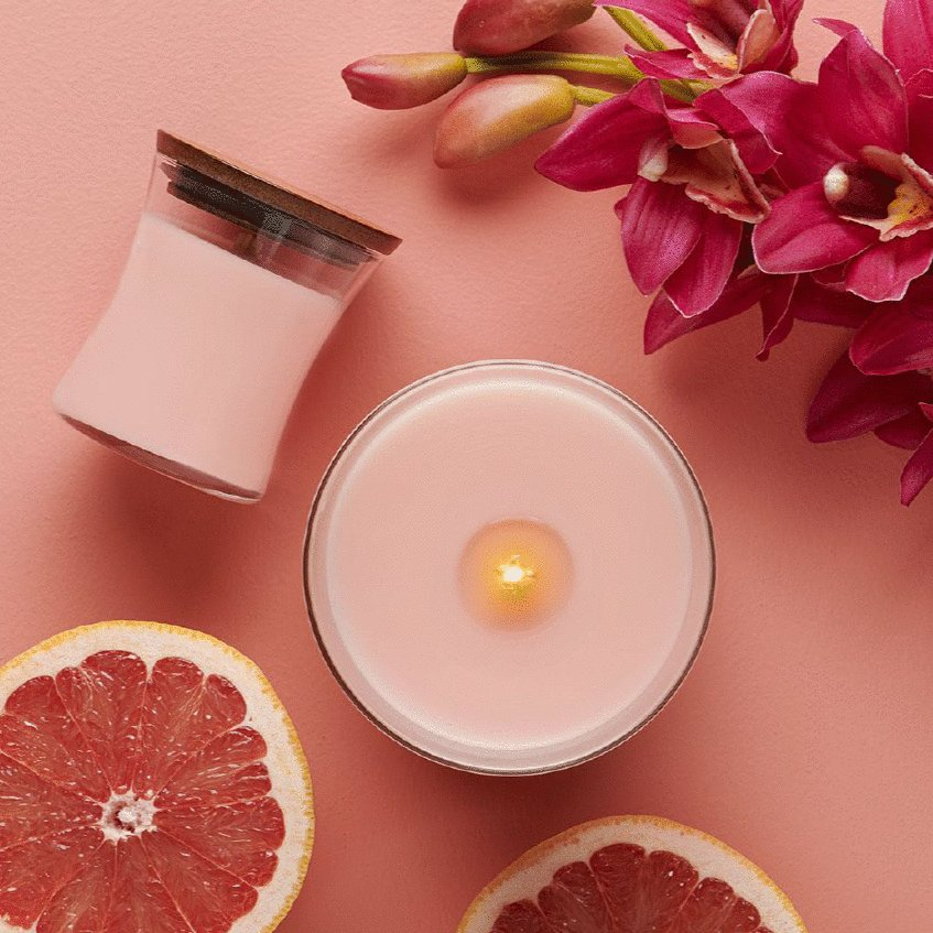 floral and citrus scented candles