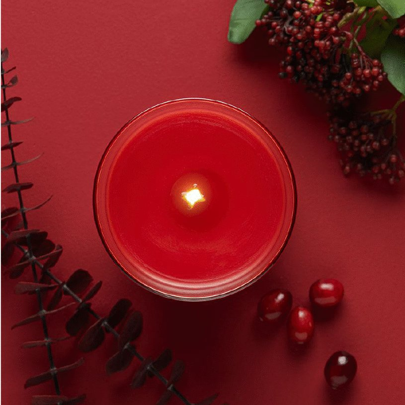 berry scented lit candle