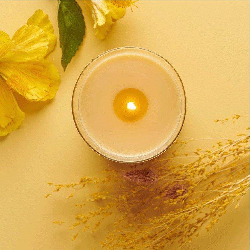 lit woodwick candle