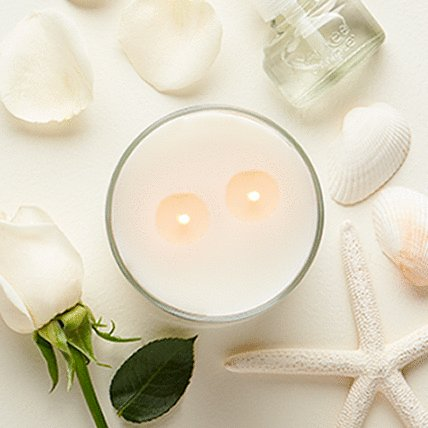 2 wick candle with white background